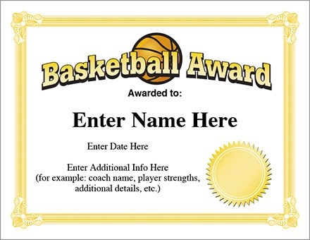 12+ Basketball Awards Certificates - PDF Examples