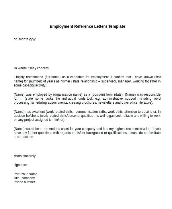 9+ Reference Letter for Employment Examples - PDF - what are candidate endorsement letters