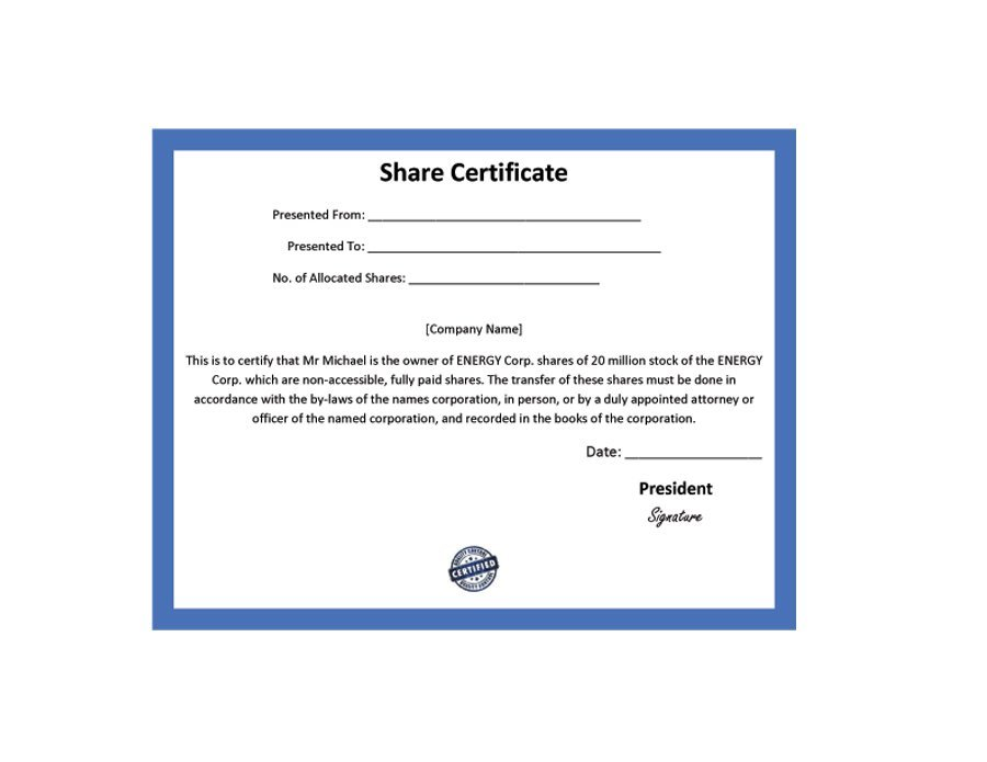 company share certificates - Baskanidai
