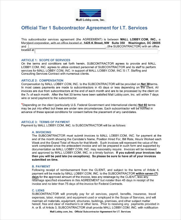 16+ Subcontractor Agreement Examples - PDF