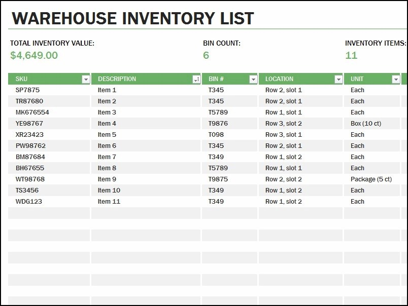 list of inventory - Yokkubkireklamowe