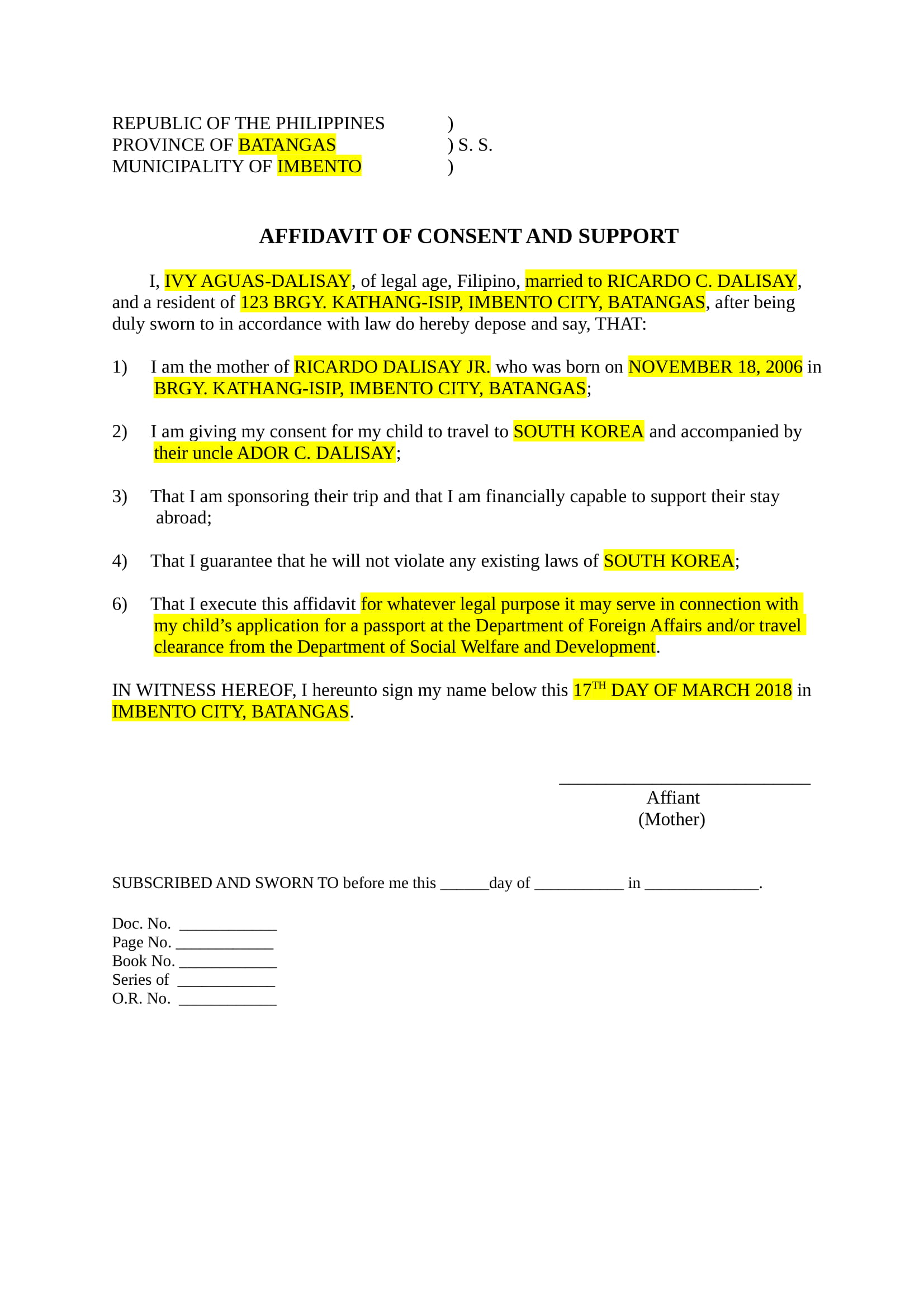 notarized letter example