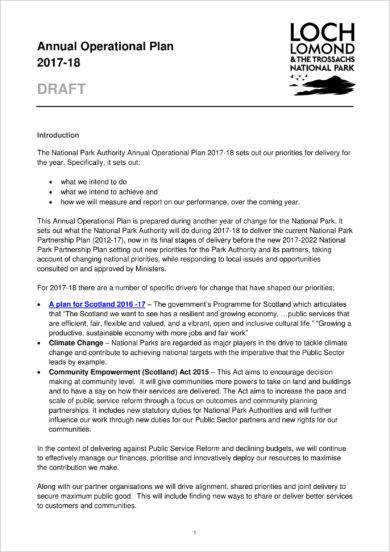 9+ Project Operational Plan Examples - PDF - Operational Plan Template