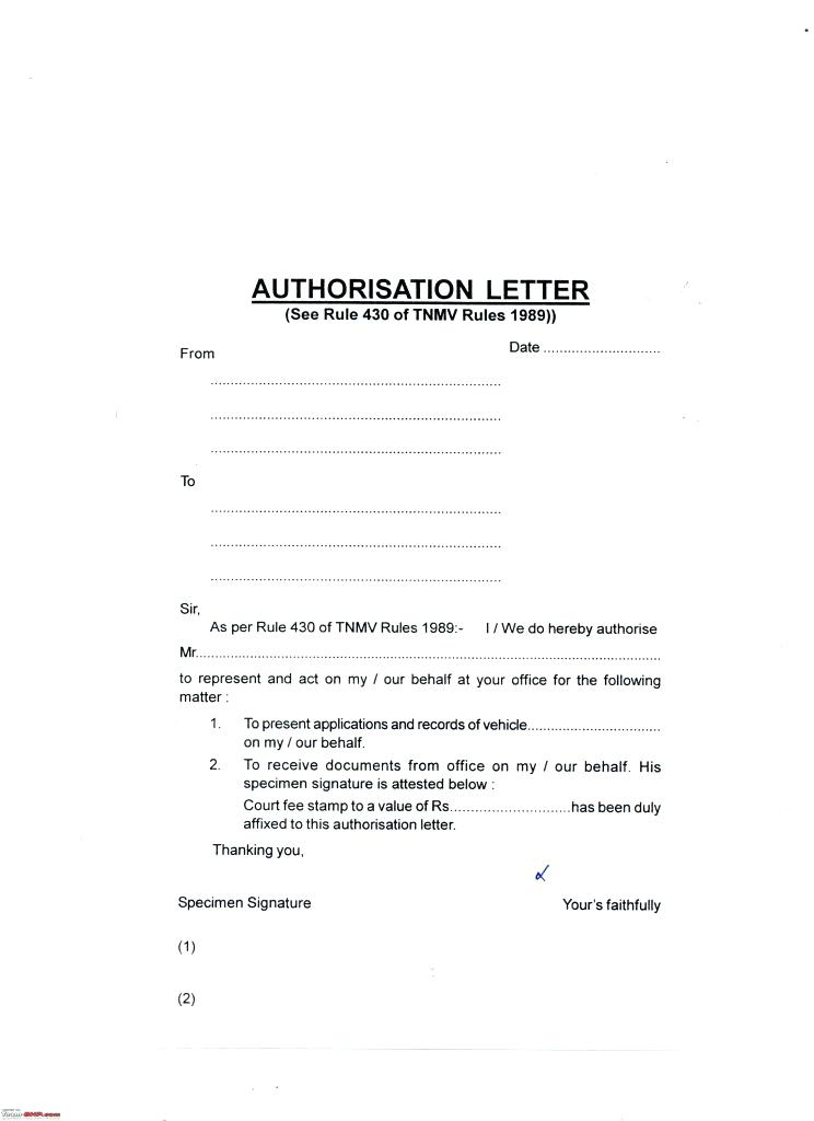 authorization letter to drive vehicle sample example