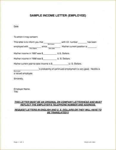 9+ Income Verification Letter Examples in PDF Examples