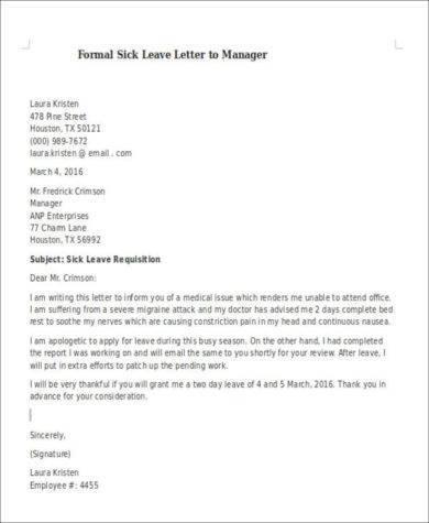 Formal Sick Leave Letter newyearoltestinfo