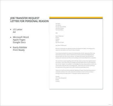 11+ Job Transfer Request Letter Examples - PDF - transfer request letter
