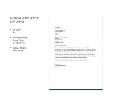11+ Official Medical Leave Letter Examples - PDF - leave letter