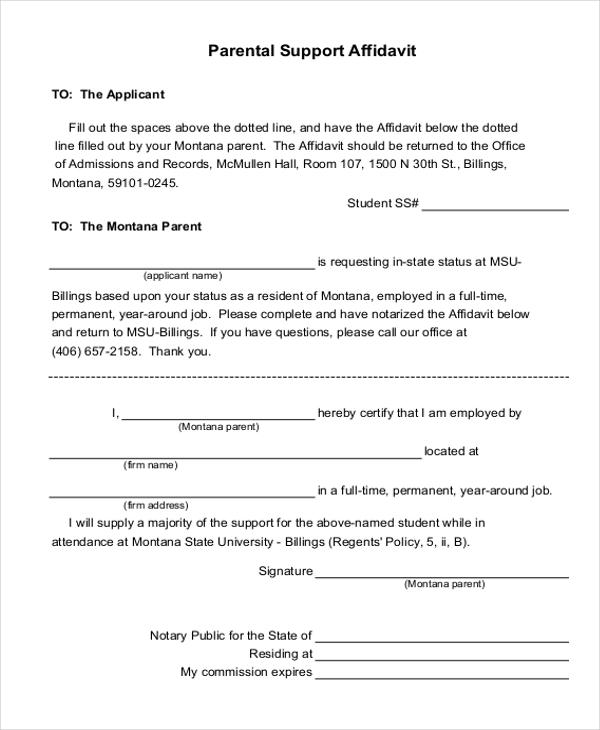 9+ Affidavit of Support Form Examples - PDF