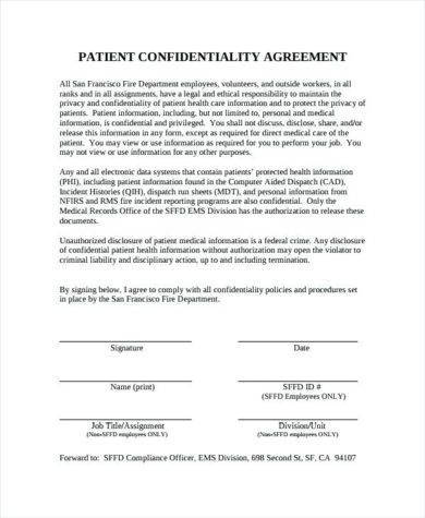 9+ Patient Confidentiality Agreement Examples - PDF, Word Examples
