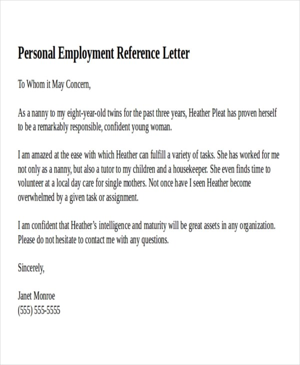 personal reference sample how to write a personal recommendation - reference letter examples