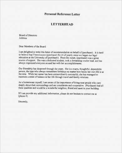 9+ Personal Reference Letter Examples - PDF - personal reference letter sample