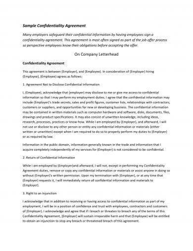 12+ Standard Confidentiality Agreement Examples - PDF, Word - confidentiality agreement template