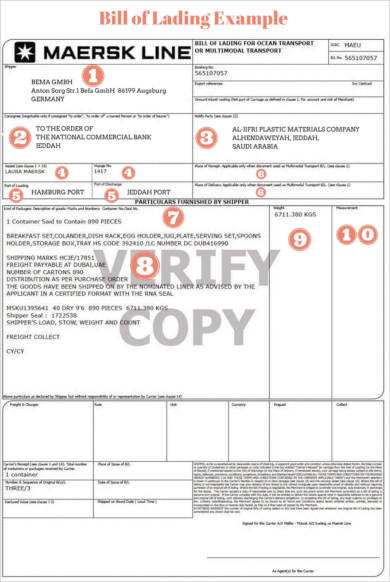 copy of bill of lading
