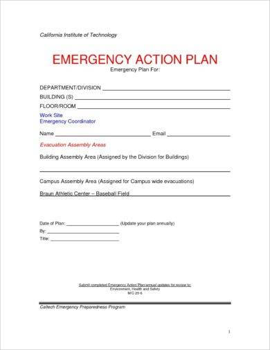 10+ Printable Emergency Action Plan Examples - PDF Examples