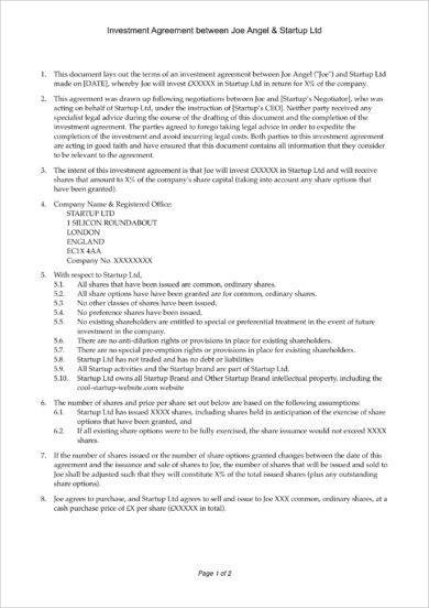 8+ Equity Investment Agreement Examples - PDF Examples