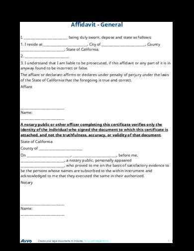 29+ Free Affidavit Form Examples - PDF - general affidavit example