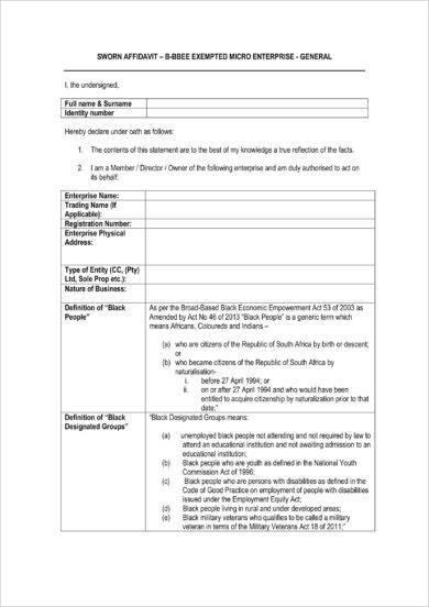 9+ Sworn Affidavit Form Examples - PDF - example of a sworn affidavit
