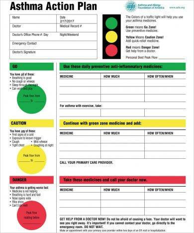 11+ Printable Asthma Action Plan Examples - PDF - asthma action plan
