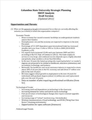 9+ SWOT Analysis of College Examples - PDF Examples