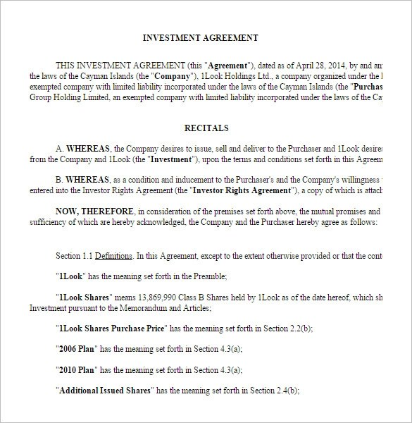 11+ Venture Capital Investment Agreement Examples - PDF, Word