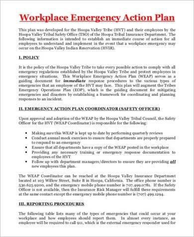 10+ Printable Emergency Action Plan Examples - PDF - emergency action plan template