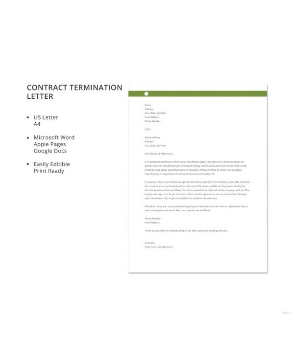 13+ Contract Termination Letter Examples - PDF, Google Docs, MS Word