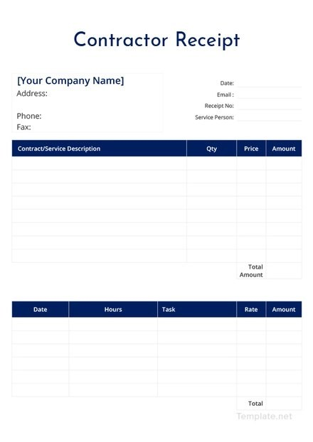 Contract Services Pay Receipt Template