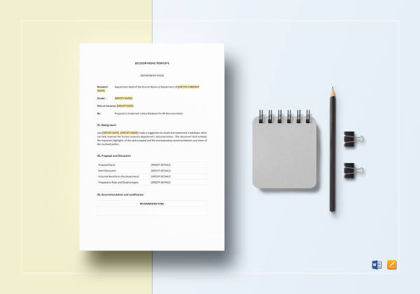 8+ Decision Memo Examples  Samples - PDF, Word, Pages Examples
