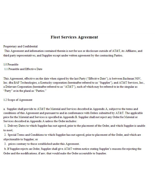 9+ Fleet Management Contract Examples- PDF Examples