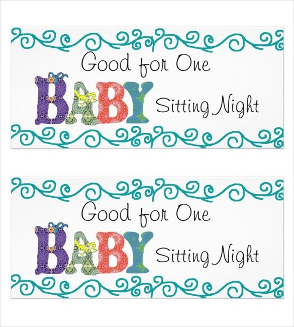 babysitting coupons template