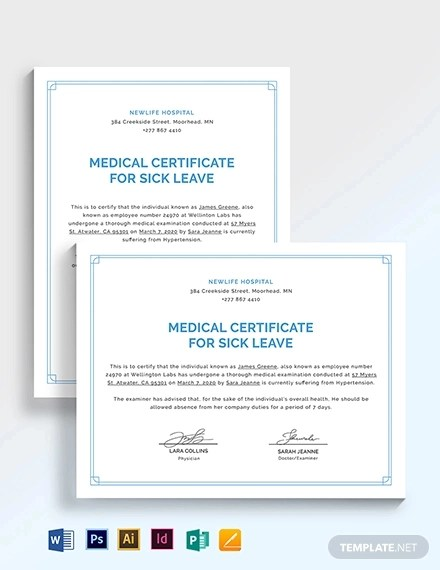 16+ Medical Certificate Examples, Templates in Word, PDF, Excel