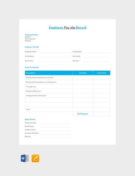 9+ Payslip Templates and Examples - PDF, DOC Examples