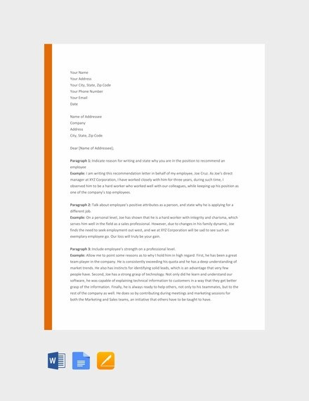 82+ Recommendation Letter Examples amp; Samples - DOC, PDF Examples