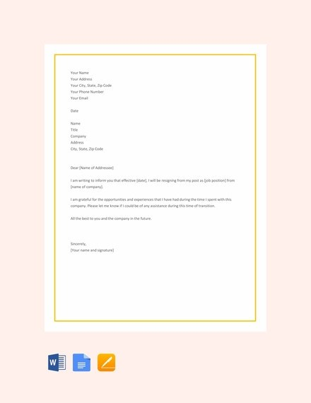 25+ Simple Resignation Letter Examples - PDF, Word Examples