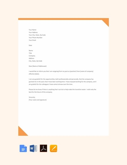 23+ Simple Resignation Letter Examples - PDF, Word Examples