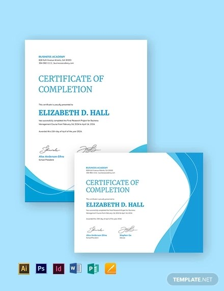 9+ Certificate of Completion - Word, PSD, AI, InDesign Example