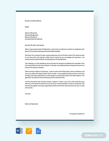 Examples on How to Write Retirement Resignation Letter Examples
