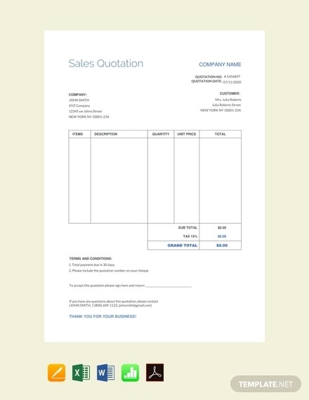 17+ Quotation Examples, Templates in Pages, Word, Excel, Numbers