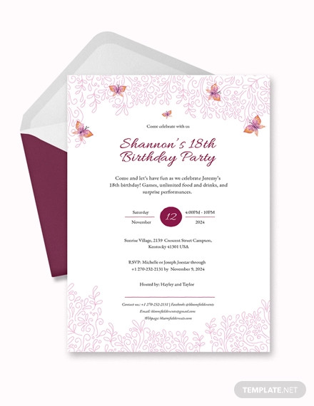 20+ 18th Birthday Invitation Designs and Examples \u2013 PSD, AI Examples