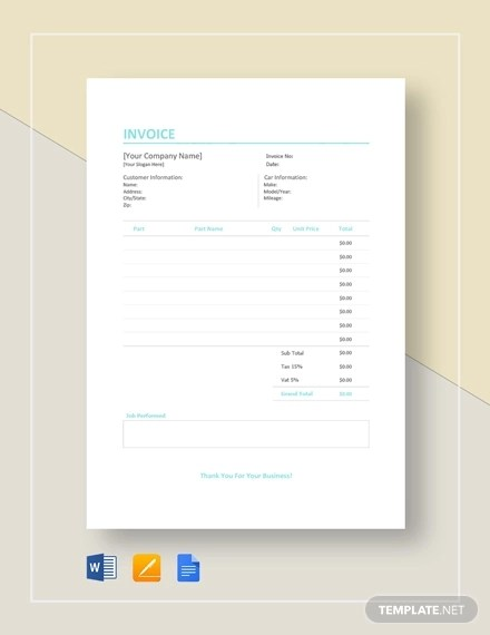 7+ Auto Repair Invoice Examples  Samples - Word, PDF, Excel Examples