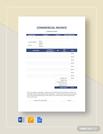6+ Commercial Invoice Examples  Samples - Word, PDF Examples