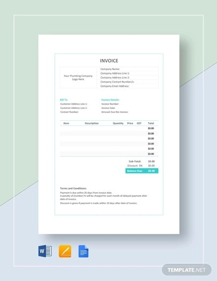 8+ Plumbing Invoice Examples  Samples - Word, PDF Examples