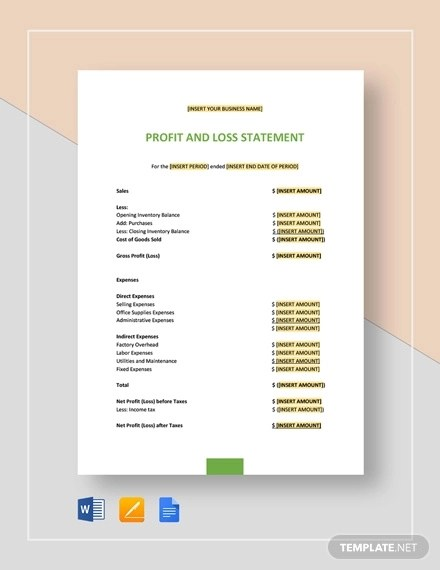 30+ Profit and Loss Statement Examples  Samples - PDF, Word, Pages