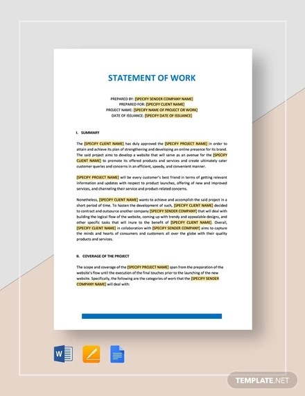 32+ Statement of Work Examples  Samples - PDF, Word, Pages Examples