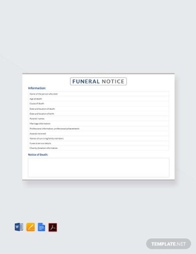 10+ Funeral Notice Examples  Templates (Download Now) Examples