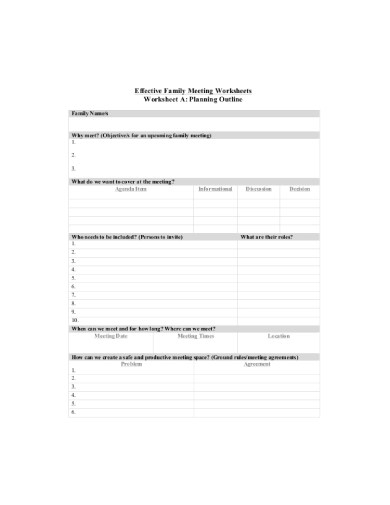 10+ Best Family Meeting Agenda Examples  Templates Download Now