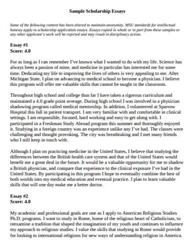 essays for scholarships samples