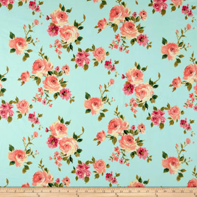 Facebook Wallpaper Fall Colors Double Brushed Printed Jersey Knit English Floral Mint