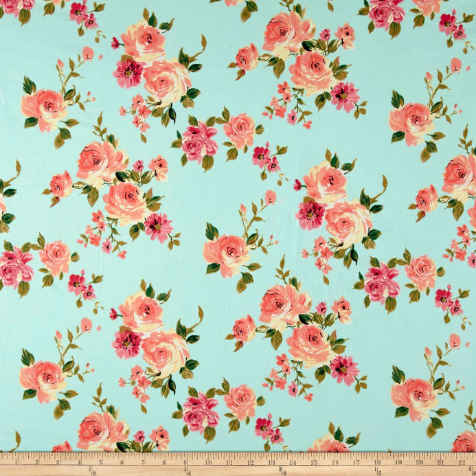 Free Fall Wallpaper For Iphone 5 Double Brushed Printed Jersey Knit English Floral Mint